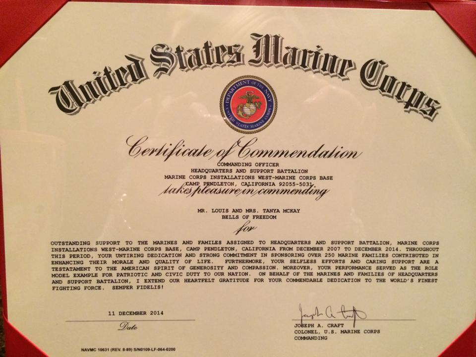 Letters notes bells of freedom for Usmc certificate of commendation template